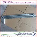 Il tipo zinco di alta qualità L/J della pianura ha placcato il bullone di fondamento galvanizzato HDG dei bulloni d'ancoraggio, L-Bullone