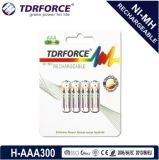 (HR03-AAA 300mAh) baixa bateria recarregável de China Fatory do hidruro do metal niquelar da descarga do auto 1.2V