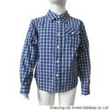 Form-Garn gefärbtes Plaid-Baumwollhemd für Jungen