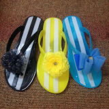 Dulces jalea de PVC color Crystal Dama zapatillas Flip Flop