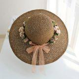 Fleur de mode Bow Cap chapeau de paille personnalisé d'été
