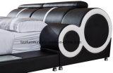 LEDが付いているFurshingsの現代革ダブル・ベッド