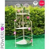 Antióxido Flor de 3 niveles de hierro forjado de estante de la sembradora de estante de libros
