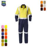 鉱山の人のつなぎ服のための反射テープが付いているオレンジ労働者の全面的なユニフォーム