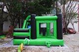 屋外の緑の膨脹可能な漫画の印刷の跳躍の警備員の膨脹可能なスライドの警備員