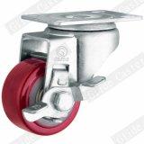 (빨간) 최고 브레이크 (두 배 볼베어링) G2202를 가진 중간 가벼운 의무 PU 피마자 바퀴