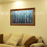 Pitture a olio blu Handmade della lama di paesaggio dell'albero di betulla
