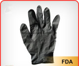 Guanti medici liberi del nitrile della Lanciare-Parte superiore del lattice libero a gettare nero della polvere