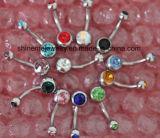 Lichaam die het van uitstekende kwaliteit van Juwelen &#160 doordringen; De Krommen van de Navel van het roestvrij staal met CZ