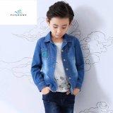 Camicia lunga del denim del manicotto dei nuovi ragazzi di stile di modo con personalità ricamata dai jeans della mosca