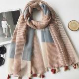 Fashion Multicolor Plaid Patch finos em voile de algodão Nude Cachecol Xales toalhas de praia