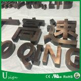 Acabado cepillado Titanio Dorado Carta Letras letras de bronce en 3D.