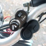 Carregador do soquete do isqueiro do cigarro da porta da fonte de alimentação do USB da motocicleta