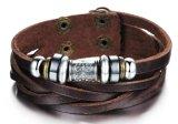 De nieuwe Armbanden van de Armband van de Armband van de Omslag van het Leer van de Manier Bruine Echte Multilayer voor Mensen Erkek Bileklik