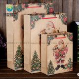 2018ループロープが付いている包装のクリスマスのギフトのためのブラウンのクラフトによってリサイクルされた紙袋をカスタマイズした