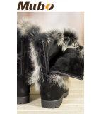 2017 Les femmes de retour à fermeture à glissière de bottes en daim avec col de fourrure de renard