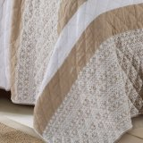 Encaje Coverlet Jacquard de lino en natural (no6047)