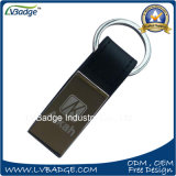 Förderung-Geschenk-Leder Keychain Metall Keychain mit Laser-Zoll-Firmenzeichen