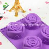 Moulage neuf de gâteau de fleur des silicones 6-Cavity de catégorie comestible du modèle 100%