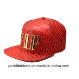 Kundenspezifische Firmenzeichen-Goldplatten-Hip Hop-Schutzkappe des Metall3d mit 6 Panel-Metallabzeichen-Firmenzeichen-Hysteresen-Schutzkappen