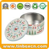 Rectángulo de regalo redondo del metal del estaño de la Navidad para los regalos de día de fiesta promocionales