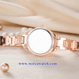 Custom Mesdames montres à quartz de cuir wist, femme de regarder en alliage (WY-17050)