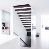Escaleras de madera flotantes/escalera de madera de Cantilevel con el pasamano de cristal