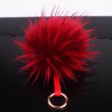 Ткань из чесаного POM POM Red Hat/белого меха Raccoon цепочке для ключей