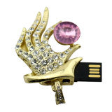 Movimentação de cristal da pena do USB da mão da bruxa do diamante do presente