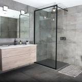 Baño de aleación de aluminio de 8mm vidrio templado oscuro Matt mampara de ducha