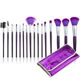 el maquillaje cosmético 16PCS aplica el kit con brocha con la caja del filtro púrpura