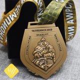 Fait en usine de bonne qualité de l'or de la police personnalisée 3D de médailles militaires