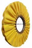 Roue de polissage de polissage de coton jaune de voie aérienne (oblique) pour le métal