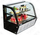 Холодильник рекламы охладителя индикации печенья витрины индикации торта нержавеющей стали 2 полок
