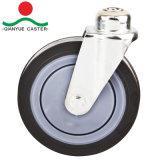 Qualität 5 Zoll-Einkaufswagen-Fußrolle mit Schraubbolzen, USA-Art PU-Fußrollen-Rad