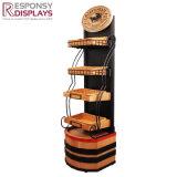 عالة يصمّم معدن وخشب أرضية خمر عرض حامل قفص مع سلال