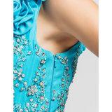 Сексуальные цветки одно платье выпускного вечера плеча с поездом щетки стреловидности