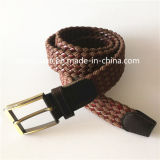 Leather and Fabric Combinated Braided Elastic Belt Strap