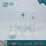 Bouteilles et chocs en verre cosmétiques clairs de pompe de lotion avec le couvercle à visser