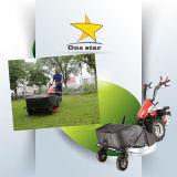 쟁기 및 타병 및 잔디 잔디 깎는 사람을%s 가진 2개의 바퀴 걷는 트랙터