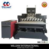平らな回転式マルチヘッドCNCのルーターの木工業機械(VCT-2515 FR-8H)