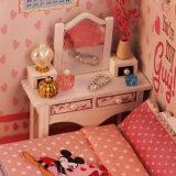 2017 DIY rosa de juguete de madera casa de muñecas para los niños
