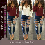 New Fashion Ladies Stretchy Skinny Ripped Jeans Calças Jeans (TXXL246)