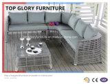 屋外4PCテラスのソファーの一定の部門別の家具のPEの屋外柳細工の藤のデッキ