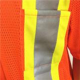 Workwear arancione lucido di sicurezza con alto nastro adesivo di visibilità