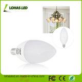 Los Estados Unidos Venta caliente de la luz de velas LED E12 6W 110V Candelabro Vela LED regulable bombilla