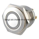 schakelaar van de Drukknop van de Ring van het Messing van 16mm de Vernikkelde Kortstondige