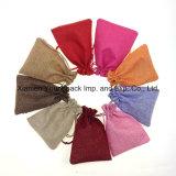 Piccolo sacchetto 100% del sacchetto del regalo dei monili della tela di canapa del cotone stampato abitudine promozionale