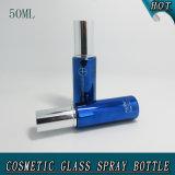 50ml en verre bleu du vérin de Cosmétique Spray Prix de la pompe
