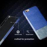 Caixa luxuosa do couro da tampa traseira para o iPhone 7, tampa do couro do teste padrão da fibra do carbono para o iPhone 7